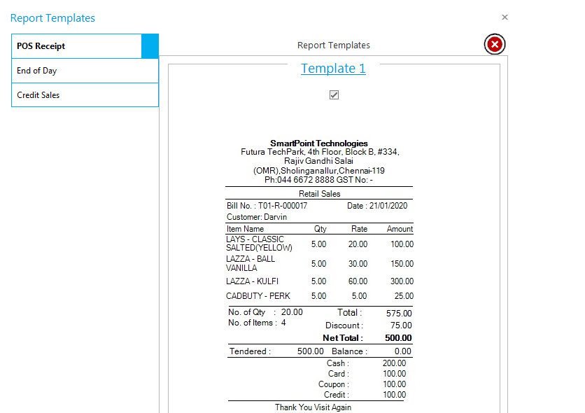 Comprehensive invoices